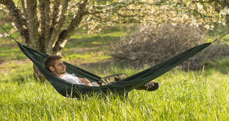 Country Man in Hammock royalty free stock image