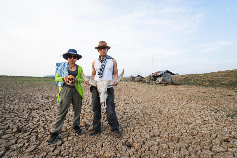 Country man and woman sad at climate change global warming danger stock image