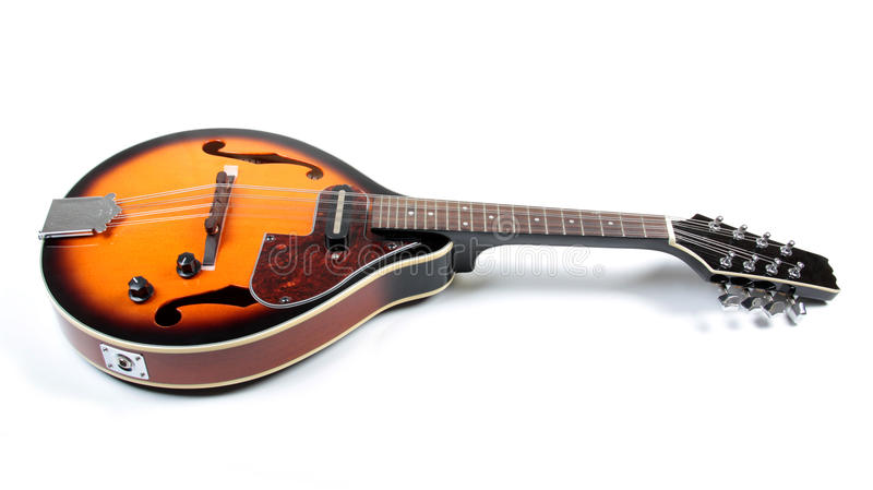 Country mandolin. Mandolin in country style on white bacckground royalty free stock images