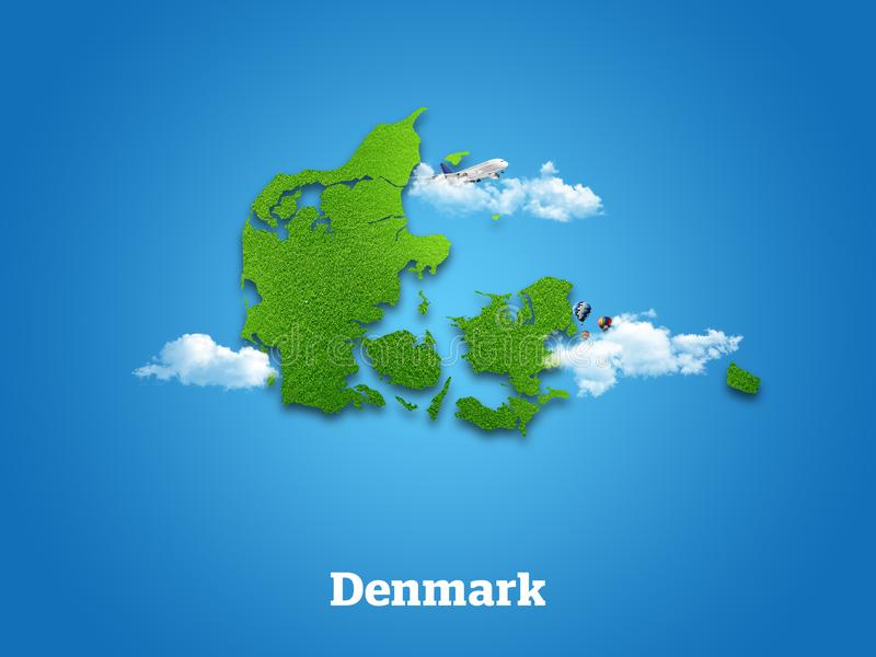 Denmark Map. Green grass, sky and cloudy concept. stock image