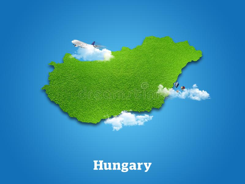 Hungary Map. Green grass, sky and cloudy concept. royalty free stock images