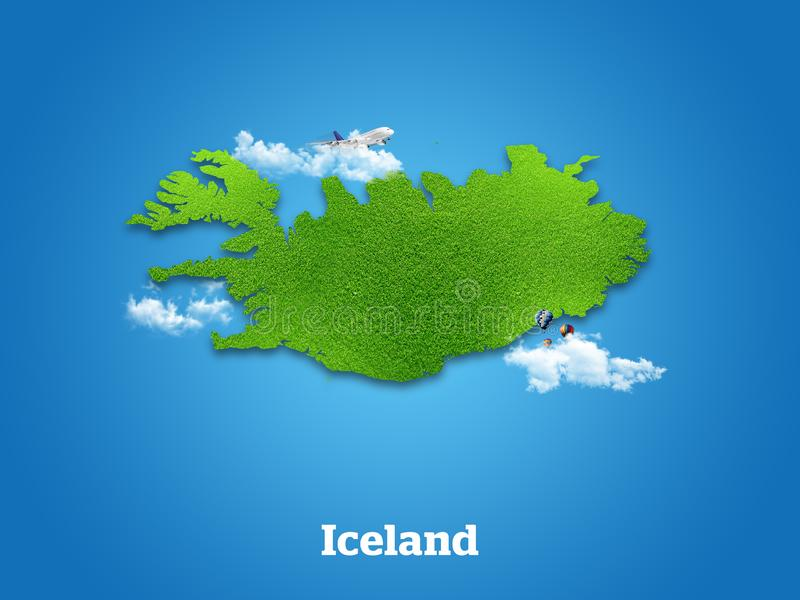 Iceland Map. Green grass, sky and cloudy concept. stock photo
