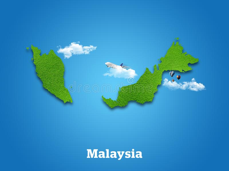 Malaysia Map. Green grass, sky and cloudy concept. royalty free stock image
