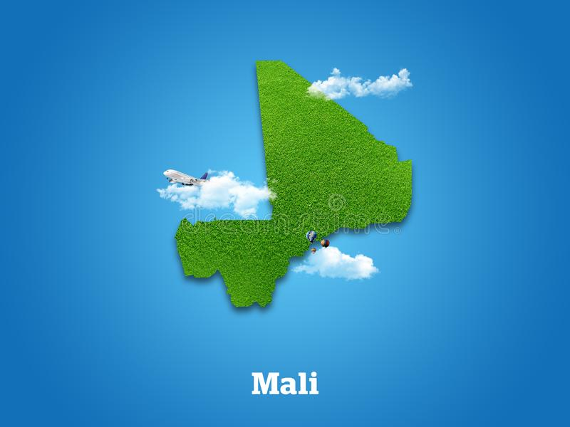 Mali Map. Green grass, sky and cloudy concept. royalty free stock photo
