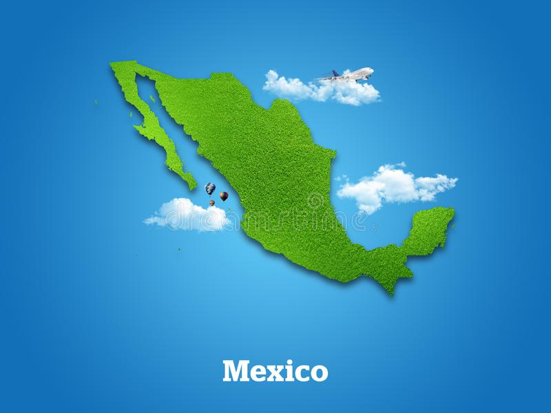 Mexico Map. Green grass, sky and cloudy concept. stock image