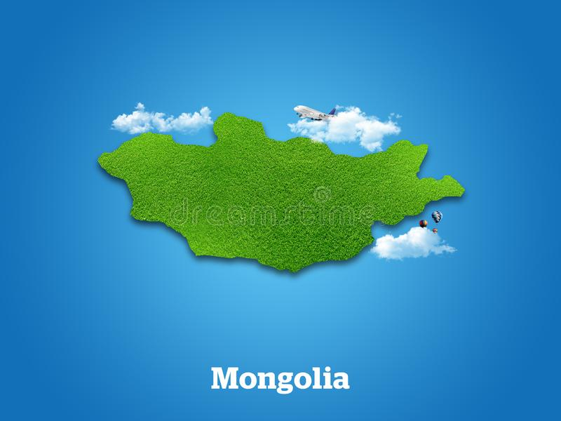 Mongolia Map. Green grass, sky and cloudy concept. royalty free stock photo