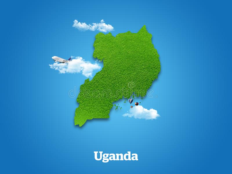 Uganda Map. Green grass, sky and cloudy concept. royalty free stock photo