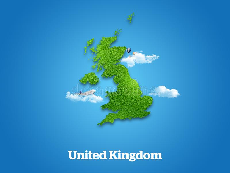United Kingdom Map. Green grass, sky and cloudy concept. stock illustration