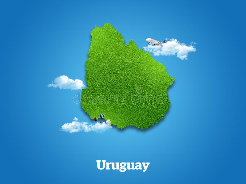 Uruguay Map. Green grass, sky and cloudy concept. vector illustration