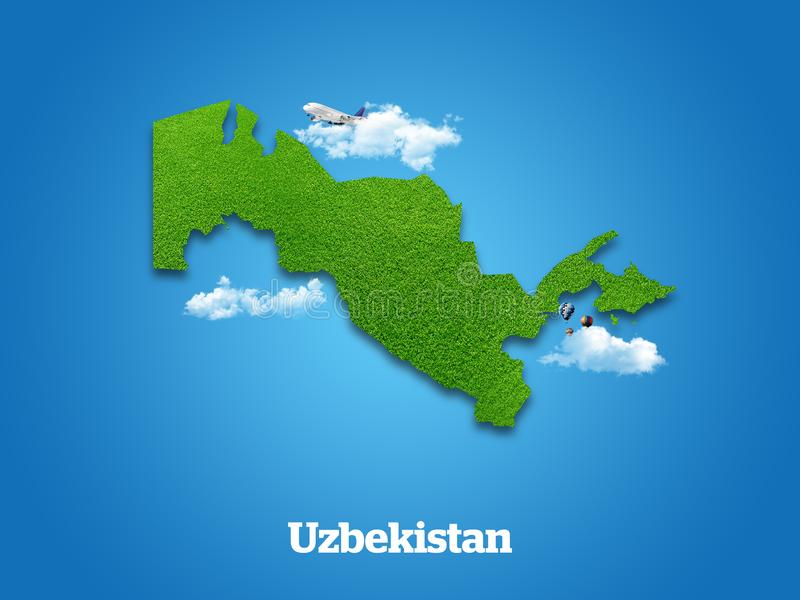 Uzbekistan Map. Green grass, sky and cloudy concept. royalty free illustration