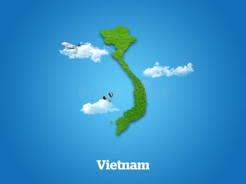 Vietnam Map. Green grass, sky and cloudy concept. vector illustration