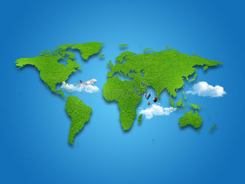 World Map. Green grass, sky and cloudy concept. vector illustration