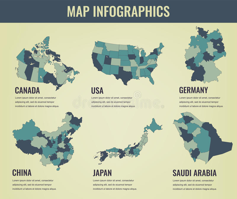 Country Maps Infographic Template USA Japan Canada China