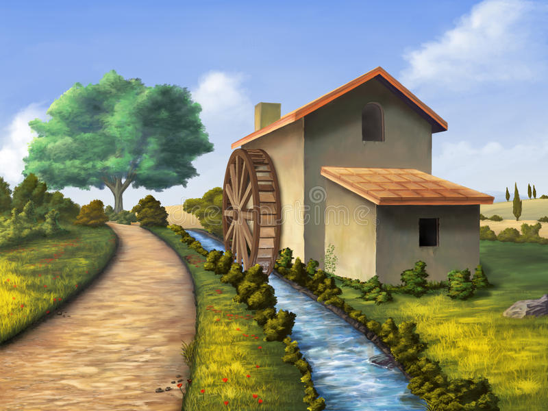 Country mill. Old mill in a country landscape. Digital illustration vector illustration