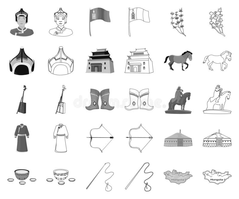 Country Mongolia monochrome,outline icons in set collection for design.Territory and landmark vector symbol stock web. Country Mongolia monochrome,outline icons stock illustration