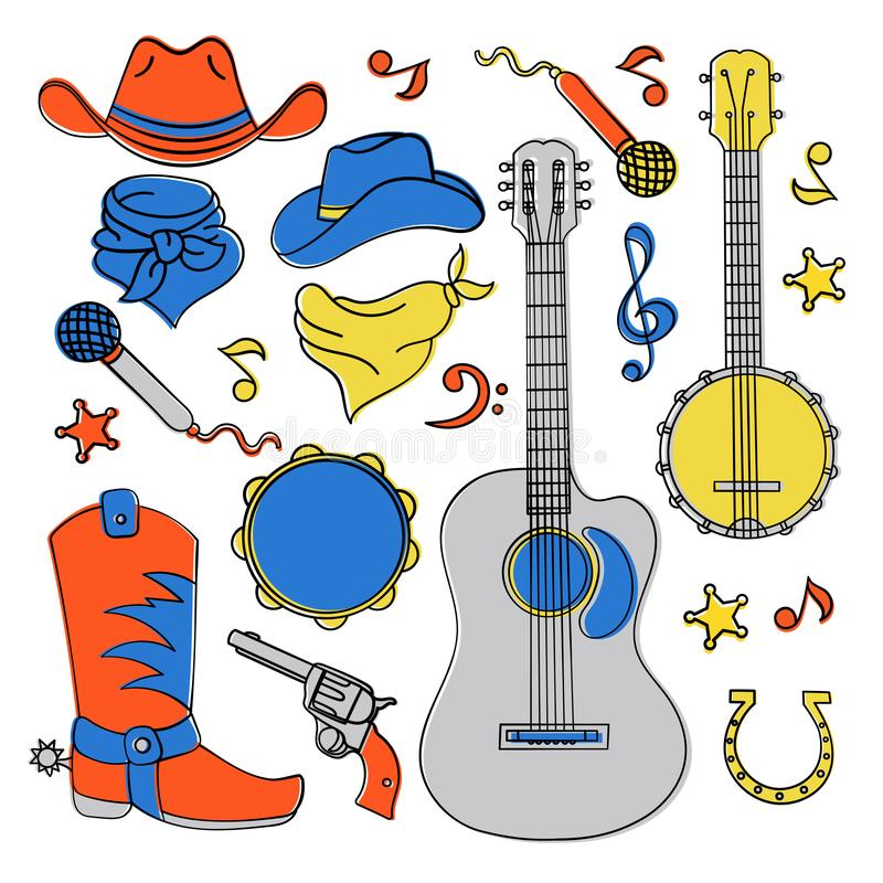 COUNTRY MUSIC BAND Western Festival Vector Illustration Set stock illustration
