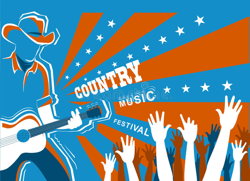Country music concert with musician playing guitar. American Country music concert with musician playing guitar.Vector background illustration royalty free illustration