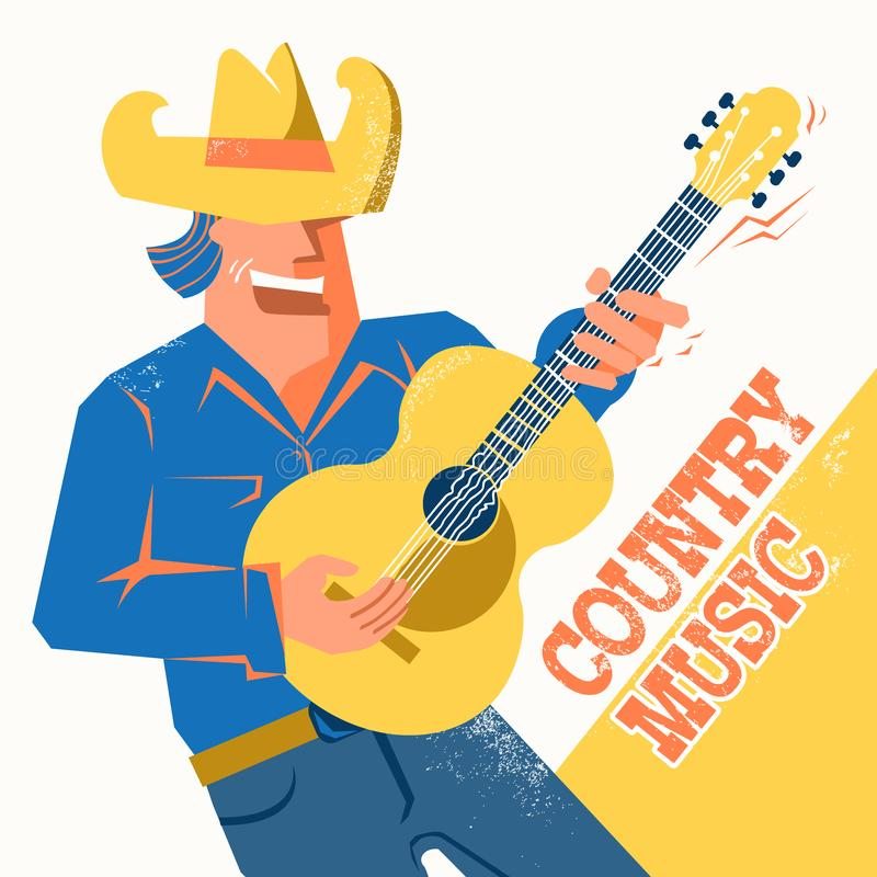 Country music concert poster with singer man in cowboy hat palying the guitar royalty free illustration