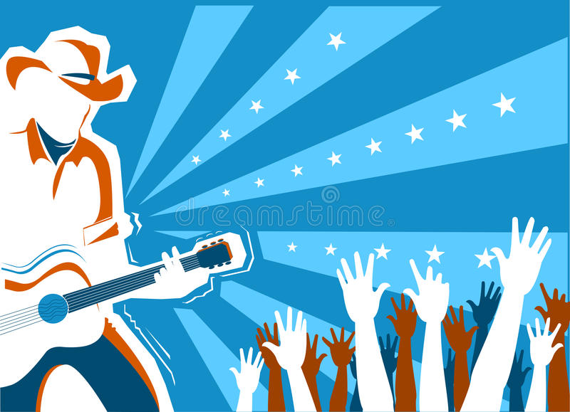 Country music concert with singer and guitar.Vector background stock illustration