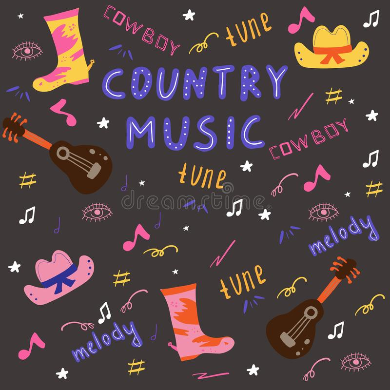 Country music doodle set royalty free illustration