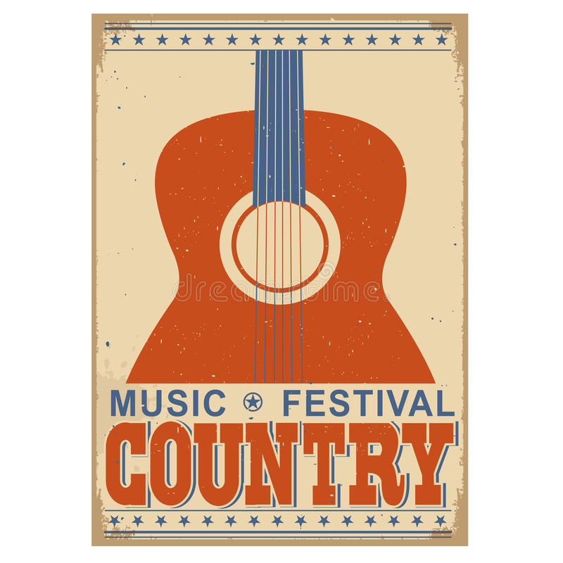 Country music festival background with text.Vector old poster w stock illustration