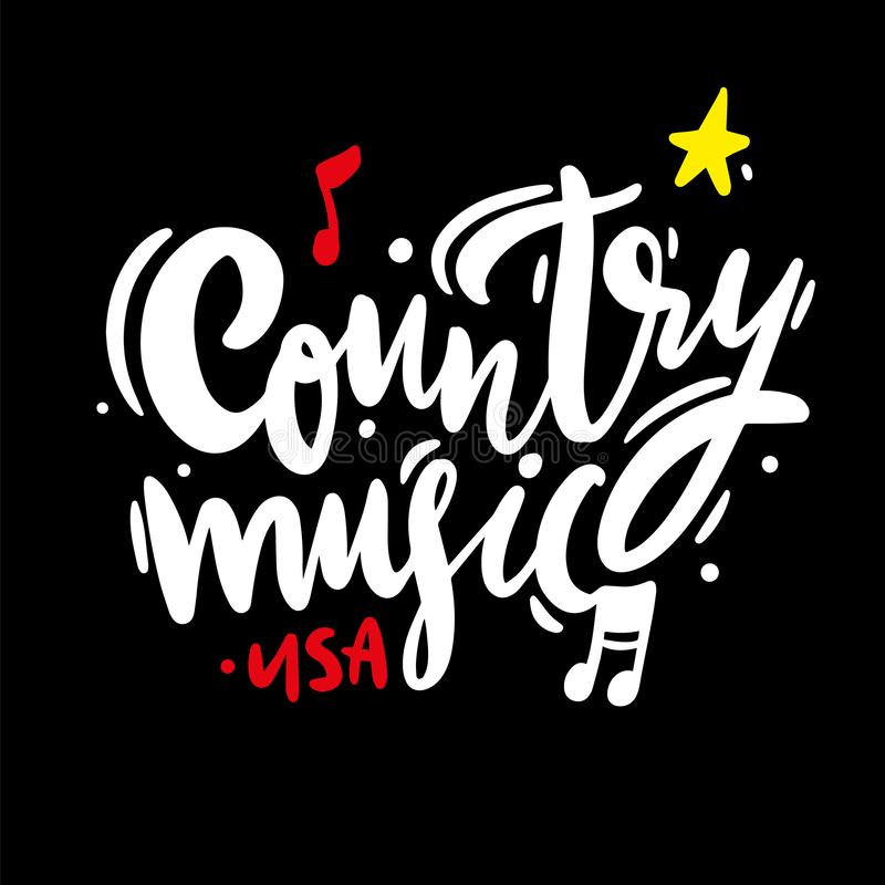 Country music Festival hand drawn vector lettering sing. Isolated on BLACK background royalty free illustration