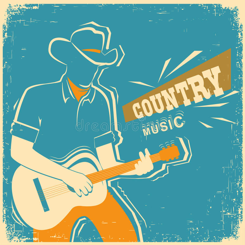 Country music festival with musician playing guitar on old vintage paper. Country music festival poster with musician playing guitar.Vector old vintage poster vector illustration