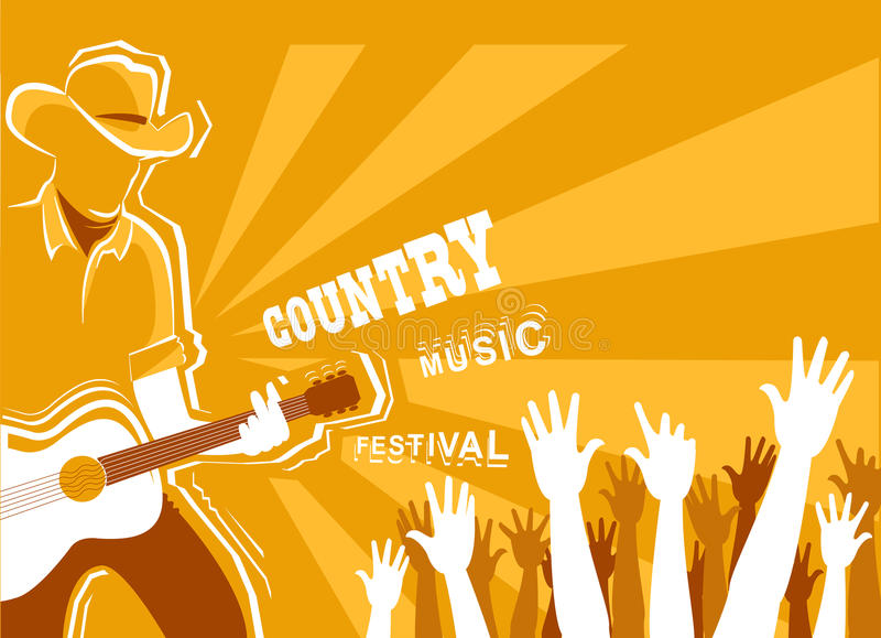 Country music festival poster with musician playing guitar. Vector background illustration vector illustration