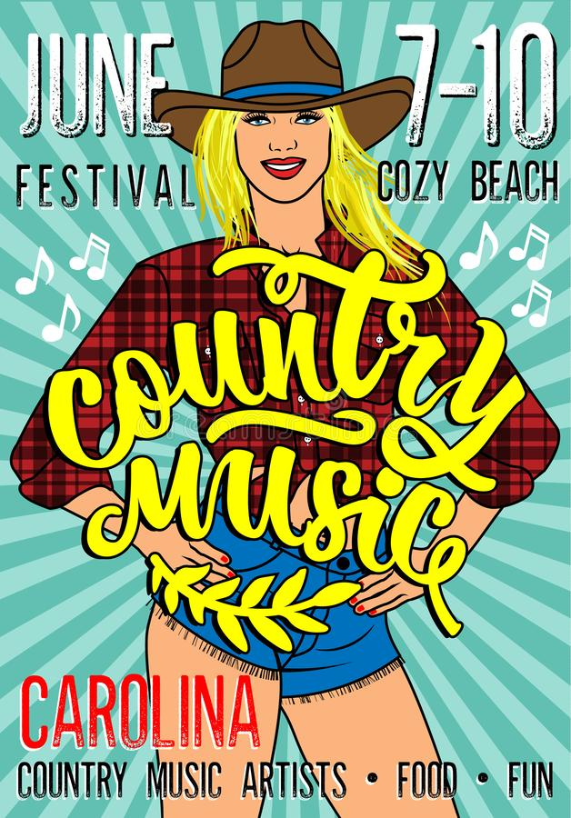 Country Music Festival Poster with Country Girl In Short Jean Shorts And Plaid Shirt. royalty free illustration