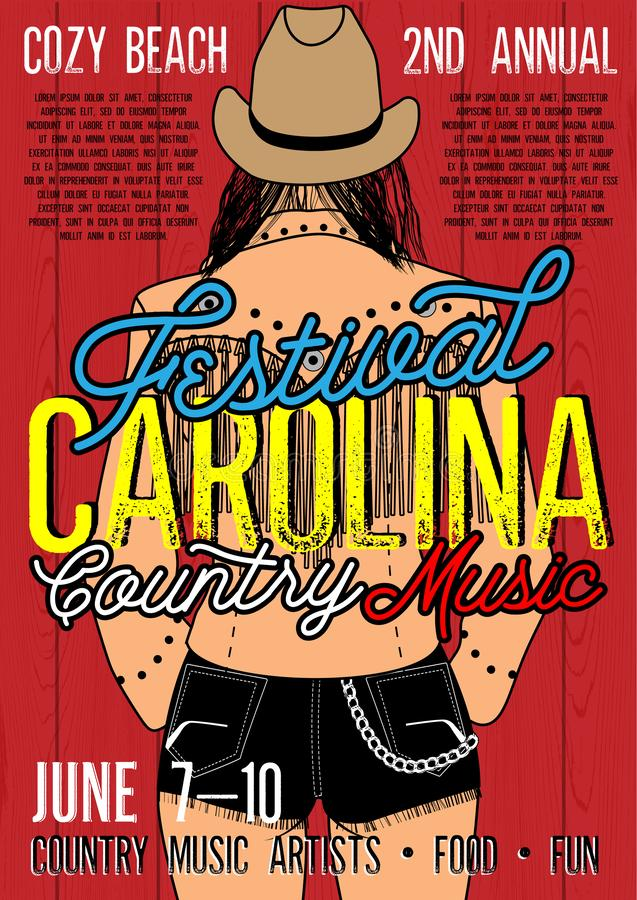 Country Music Festival Poster with Country Girl In Short Jean Shorts And Plaid Shirt. vector illustration