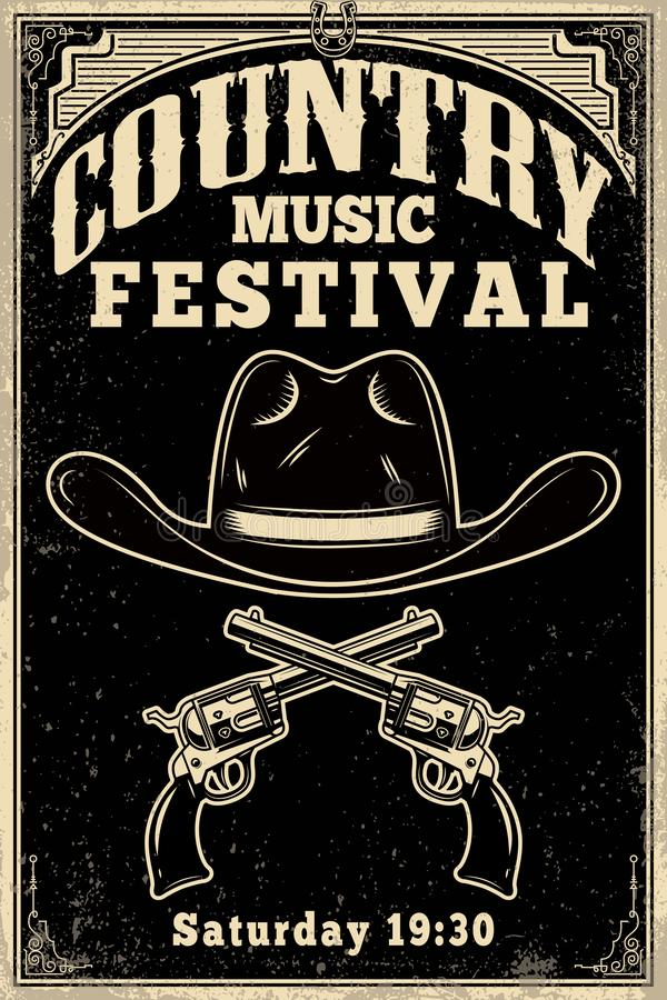 Country music festival poster template. Cowboy hat with crossed revolvers. Wild West theme. Design element for poster, card, banne royalty free illustration