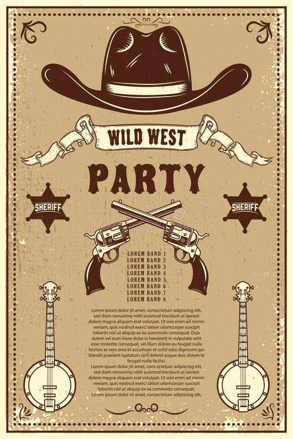 Country music festival poster template. Cowboy hat with crossed revolvers. Wild West theme. Design element for poster, card, banne stock illustration