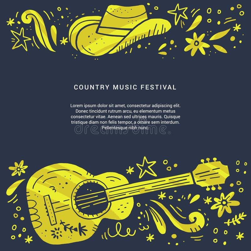 Country music festival retro poster vector template. Hand drawn live music concert, event banner concept. Acoustic guitar, cowboy hat grunge cliparts and text stock illustration