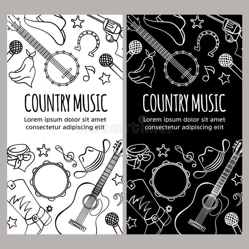 COUNTRY MUSIC FLYER Western Festival Vector Illustration Set. COUNTRY MUSIC FLYER American Cowboy Western Festival Vector Illustration Set for Print Fabric and royalty free illustration