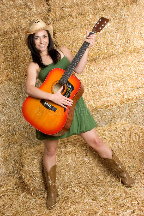 Country Music Girl. Beautiful smiling country music girl stock images