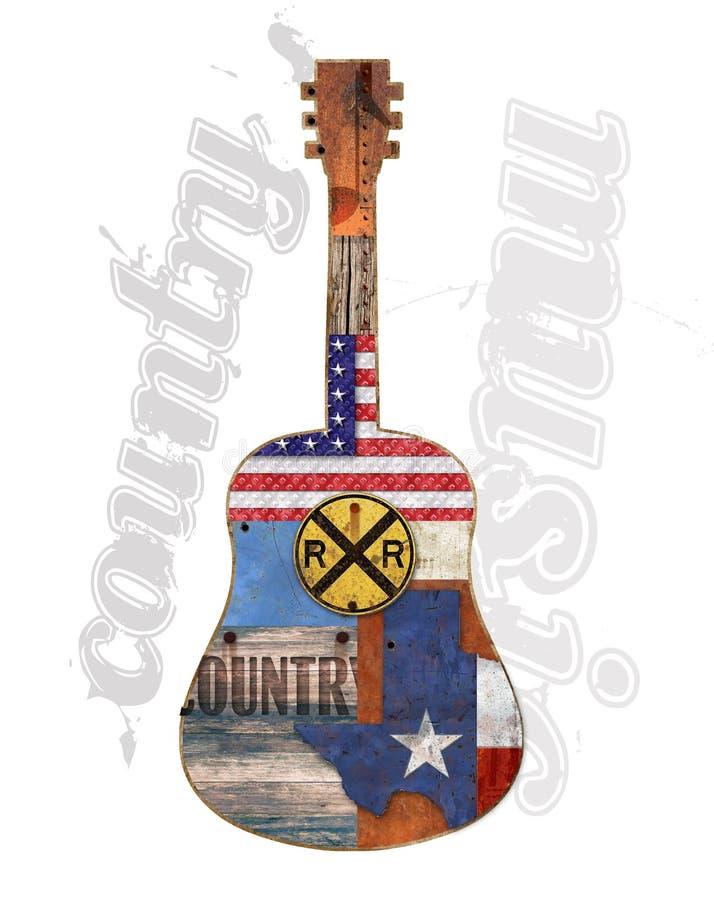 Country Music Guitar American Rustic vector illustration