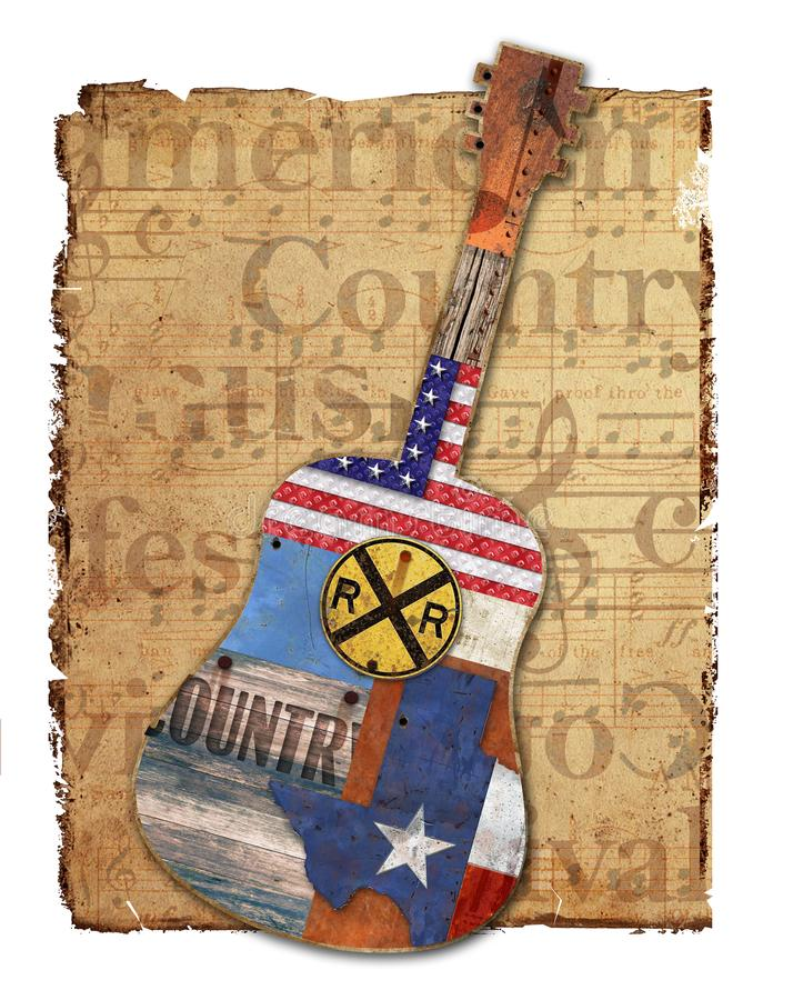 Country Music Guitar American Rustic. Country Music American Guitar Texas Grunge Rustic Vintage Roadhouse Singer Flag Art Logo Wood Rust Handmade vector illustration