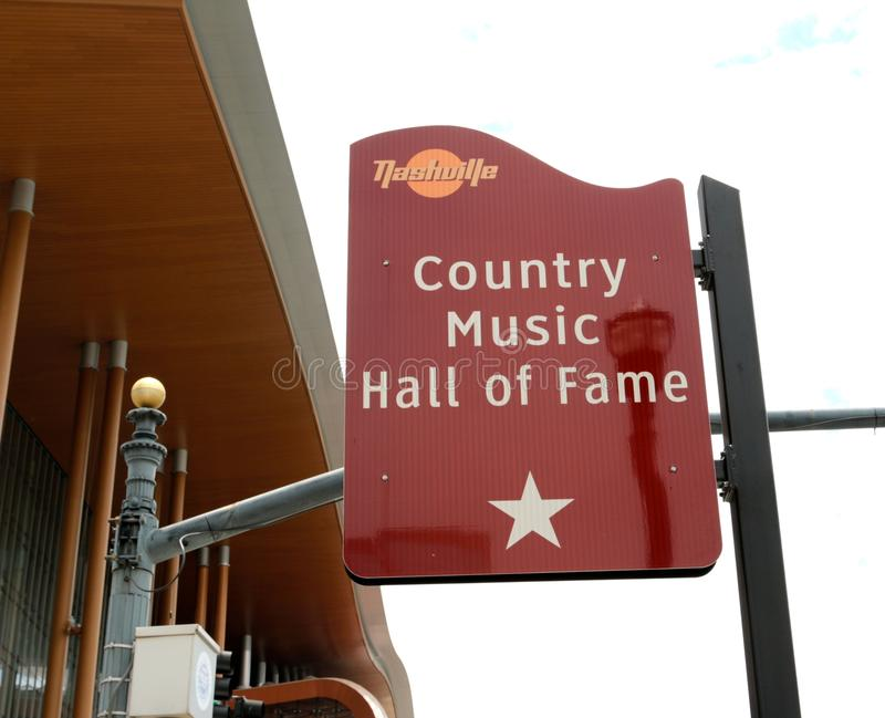 The Country Music Hall of Fame Sign, Nashville Tennessee. The Country Music Hall of Fame and Museum identifies and preserves the evolving history and traditions stock photos