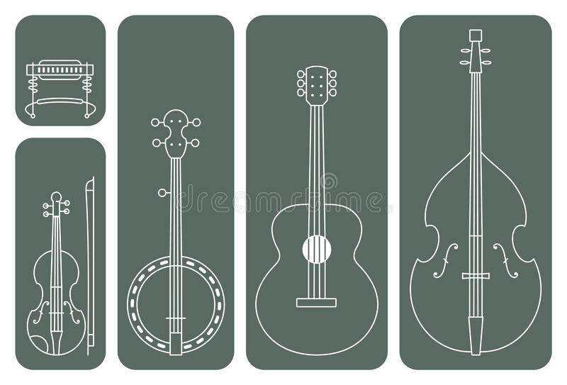 Country Music Instruments. Line Drawing Vector Illustration of Music Instruments of a regular Country Music Band vector illustration