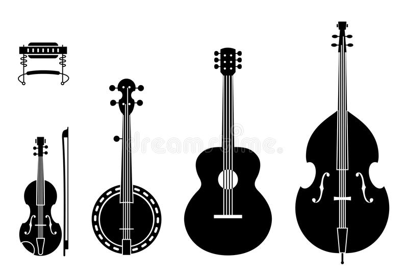 Country Music Instruments Silhouettes With Strings. Vector Illustration Of Musical Instruments Silhouettes Of A Regular, Traditional Country Music Band royalty free illustration