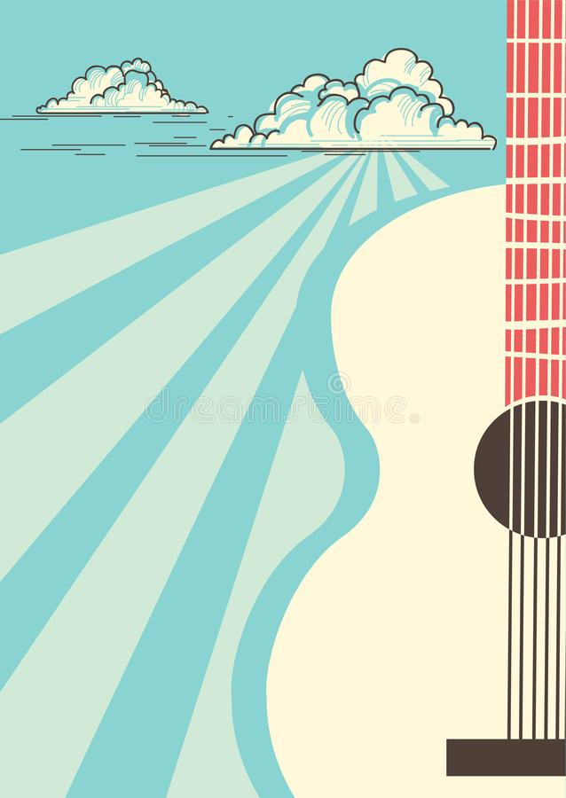 Country Music poster with musical instrument acoustic guitar.Vector blue sky background vector illustration