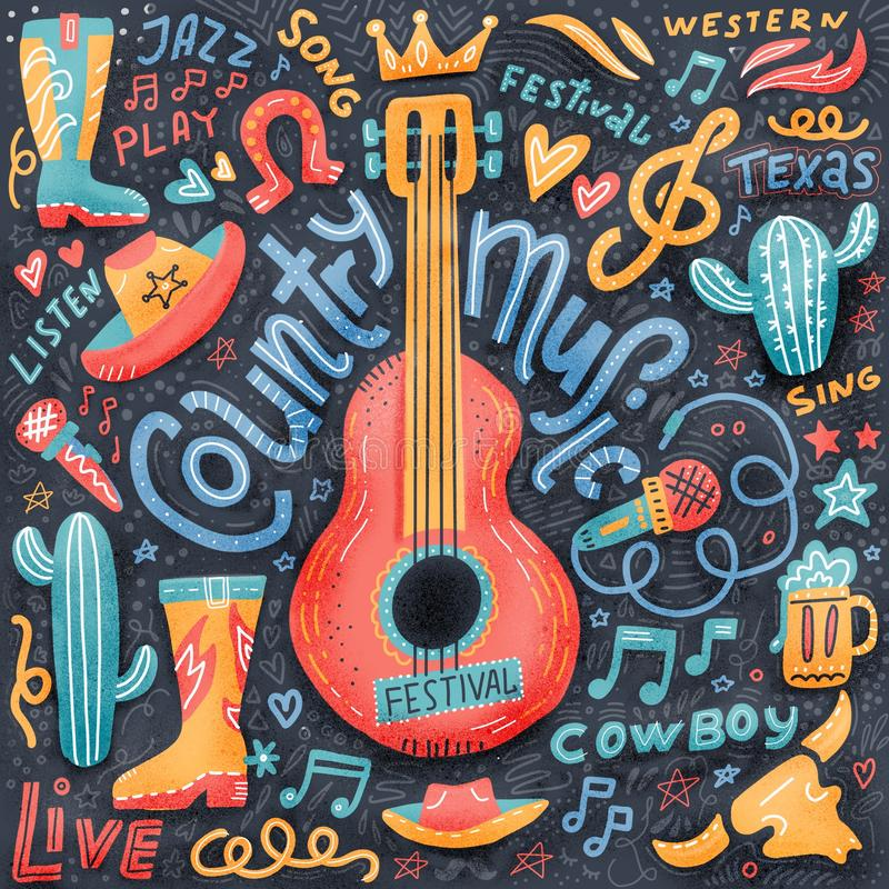 Country music print concept for postcards or festival banners. hand drawn illustration in textured flat doodle style. Guitar with. Written lettering stock illustration