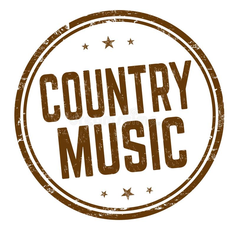 Country music sign or stamp. On white background, vector illustration stock illustration