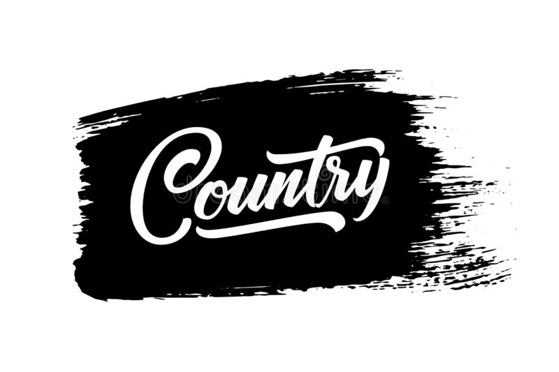 Country Music. Vector musical hand drawn lettering on black paint brush stroke. Elegant modern handwritten calligraphy. Music ink illustration. Typography royalty free illustration