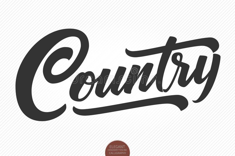Country Music. Vector musical hand drawn lettering. Elegant modern handwritten calligraphy. Music ink illustration stock illustration