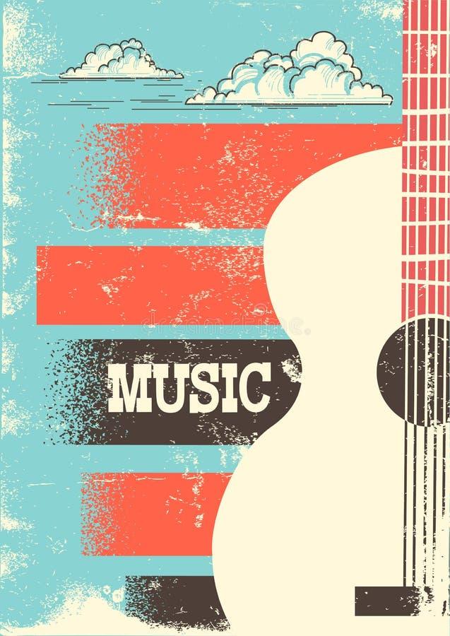 Country muziekaffiche met muzikale instrumenten akoestische gitaar Vec royalty-vrije illustratie