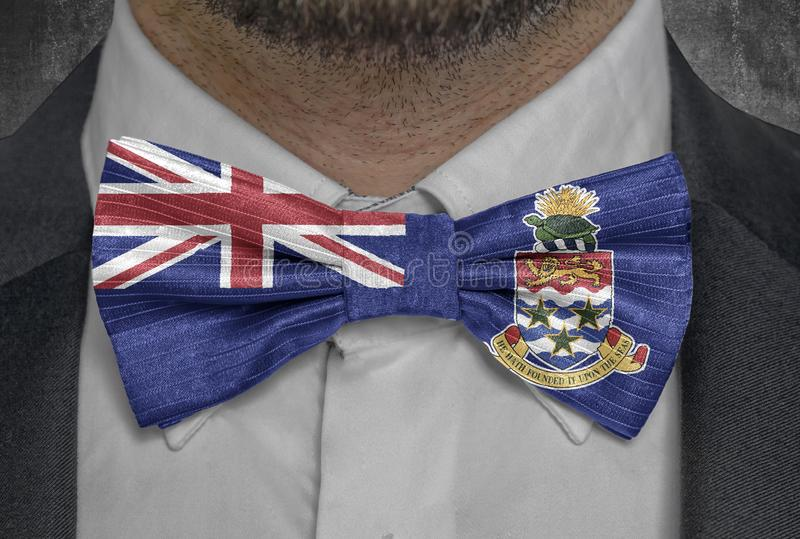 Country national Cayman Island flag on bowtie business man suit royalty free illustration