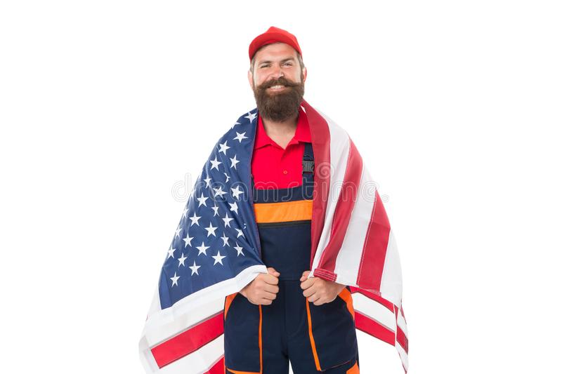 Country of opportunities. National holiday. Worker celebrate independence day. Career growth. Man hold american flag royalty free stock photos
