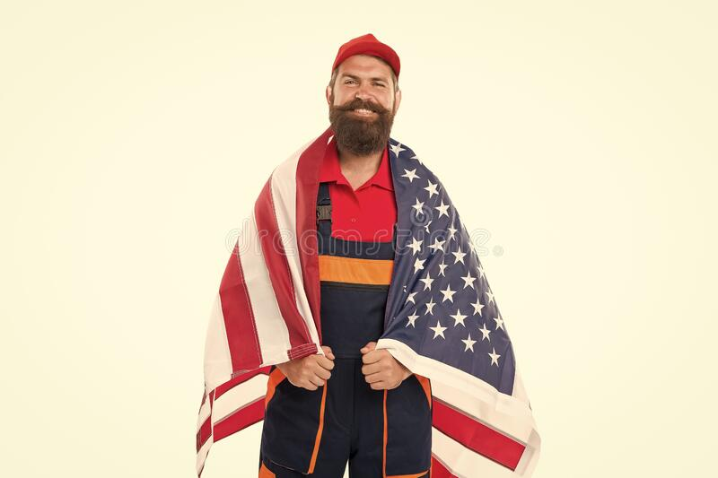 Country of opportunities. National holiday. Worker celebrate independence day. Career growth. Man hold american flag royalty free stock photography