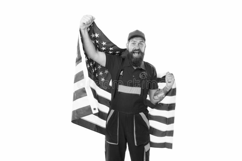 Country of opportunities. National holiday. Worker celebrate independence day. Work visa USA. Man hold american flag royalty free stock image